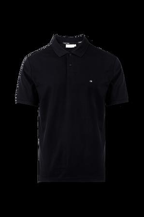 Logo Polo Shirt in Black Pique CALVIN KLEIN