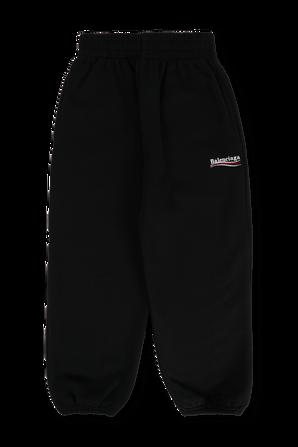 גילאי 4-8 מכנסי טרנינג עם לוגו בצבע שחור BALENCIAGA KIDS