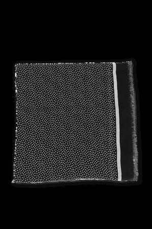 צעיף צמר ממותג בגווני שחור ולבן SAINT LAURENT