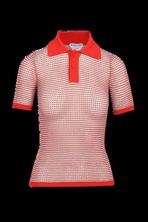 Knitted Polo Shirt in Gaze and Tomato BOTTEGA VENETA