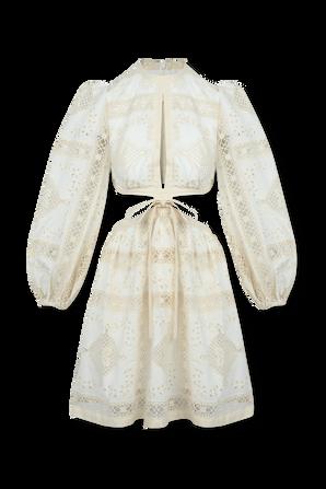 Aliane Embroidered Short Dress In Ivory ZIMMERMANN