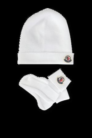 מארז זוגי גרביים וכובע בלבן MONCLER KIDS