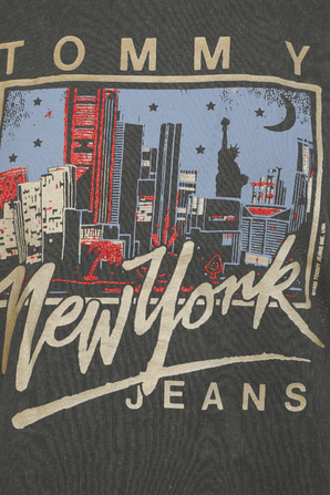 Metallic New York Logo Cropped T-Shirt in Black TOMMY HILFIGER