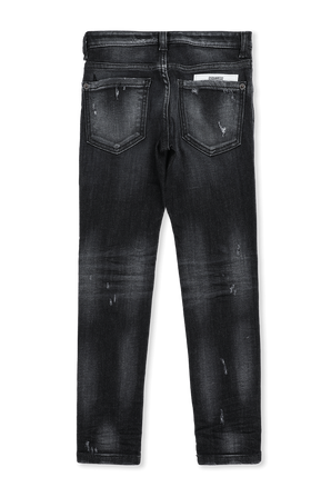 גילאי 4-16 מכנסי ג'ינס שחורים עם שפשופים וקרעים DSQUARED2 KIDS