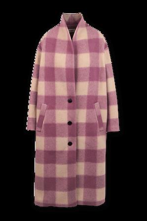 Klelayo Plaid Long Coat in Pink and Beige ISABEL MARANT