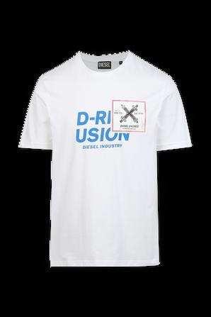 חולצת טי עם לוגו בצבע לבן DIESEL