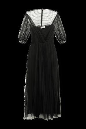Flocked Polka-Dot Tulle Dress in Black RED VALENTINO