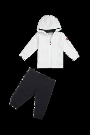 גילאי 2-24 חודשים חליפת ספורט ארוכה בשחור ולבן MONCLER KIDS