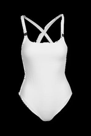 Textured One Piece Swimsuit in White CALVIN KLEIN