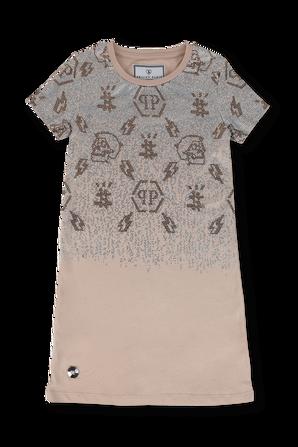 גילאי 6-10 שמלה בז' עם ניטים PHILIPP PLEIN KIDS
