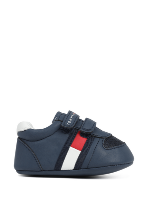 מידות 17-19 נעלי צעד ראשון בכחול עם עיטור לוגו TOMMY HILFIGER KIDS