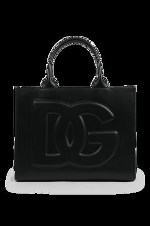 תיק נשיאה מעור עם מונוגרמת המותג בצבע שחור DOLCE & GABBANA