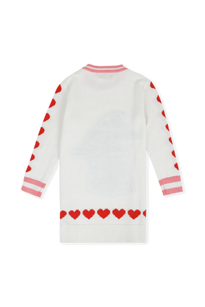 גילאי 2-14 שמלת מידי סרוגה לבנה עם דוגמת לבבות STELLA McCARTNEY KIDS