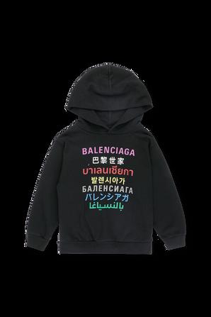 גילאי 2-10 קפוצ'ון לוגו שפות בשחור BALENCIAGA KIDS