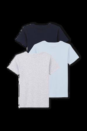גילאי 3-12 מארז שלוש חולצות טי באפור, תכלת ושחור PETIT BATEAU