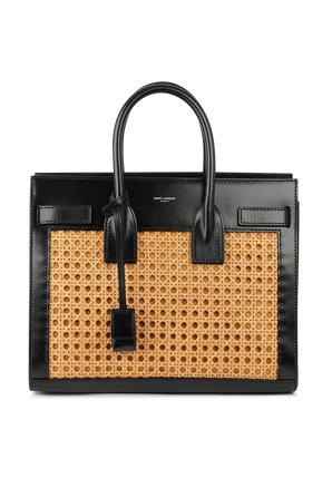 Square Straw and Leather Hand Bag SAINT LAURENT