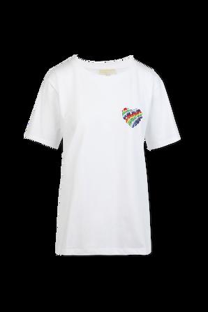 Unisex Rainbow Heart Badge Tshirt in White MICHAEL KORS