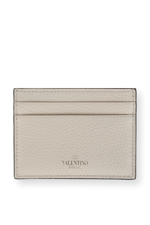 Rockstud Cardholder in White Grainy Leather VALENTINO