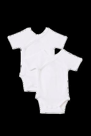 גילאי NB-12 חודשים מארז זוגי בגדי גוף קצרים בלבן PETIT BATEAU