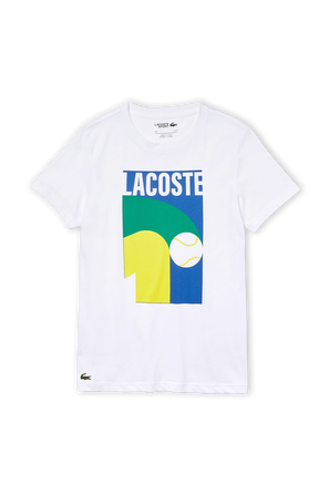 Breathable Graphic Print T-Shirt in White LACOSTE