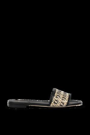 Woven Raffia FF Sandals in Brown and Black FENDI