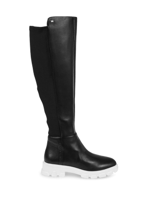 מגפי עור מעל הברך בצבע שחור MICHAEL KORS