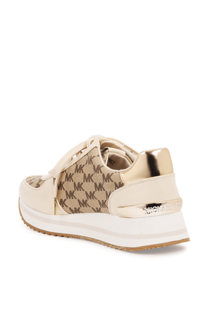 Monique Logo Trainers in Brown and Cream MICHAEL KORS