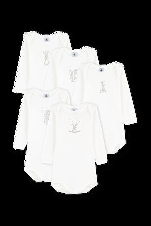 גילאי NB-12 חודשים חמישיית בגדי גוף ארוכים בפרינט ארנבון PETIT BATEAU