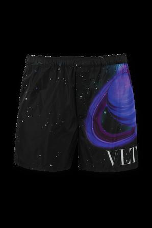 Space Print Boardshorts in Black VALENTINO