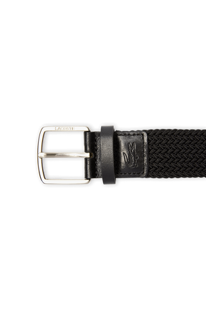 Buckle Stretch Knitted Belt In Black LACOSTE