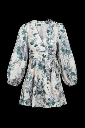 Cassia Floral-Print Wrap Short Dress ZIMMERMANN