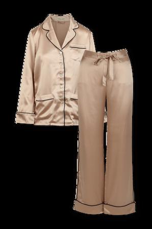 Coco Oyster Navy Silk Pyjama OLIVIA VON HALLE