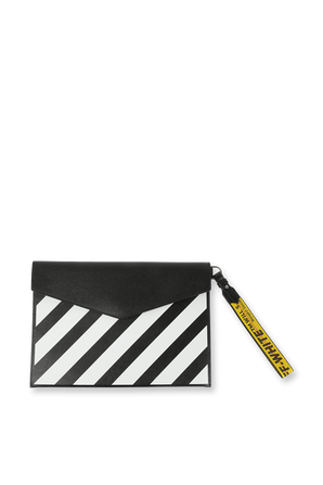 Leather Stripes Clutch Bag in Black and White OFF WHITE