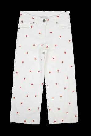 גילאי 3-14.5 מכנסי דנים לבנים פרחים רקומים STELLA McCARTNEY KIDS