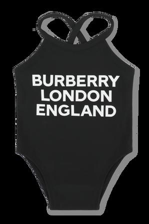 גילאי 6-24 חודשים בגד ים שלם בשחור עם לוגו BURBERRY