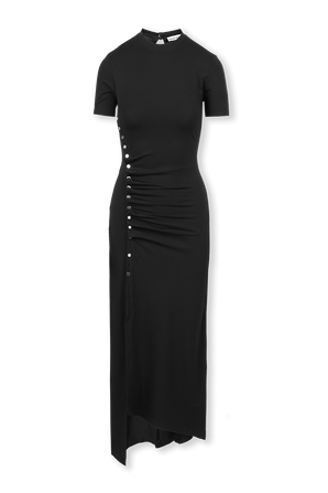 Asymmetric Buttons Midi Dress in Black PACO RABANNE
