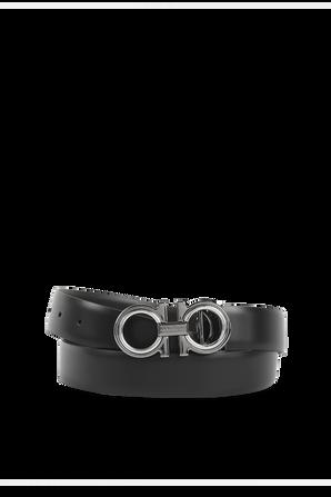 Reversible and Adjustable Belt in Black SALVATORE FERRAGAMO