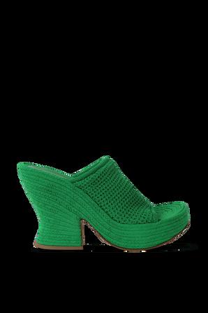 Knit Wedge Mules in Green BOTTEGA VENETA