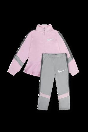 גילאי 2-4 סט ארוך מכנסיים וחולצה ממותגים בגווני ורוד ואפור NIKE