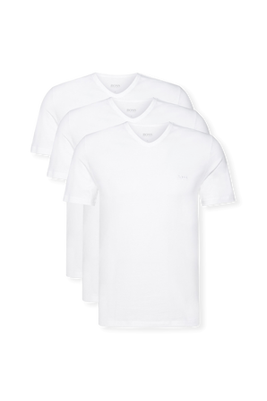Three Pack of V Neck Underwear Tee in White Cotton BOSS