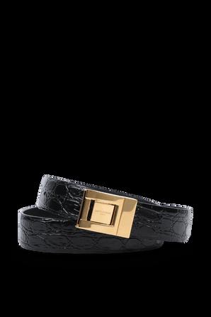 Square Buckle Belt in Black Leather SAINT LAURENT