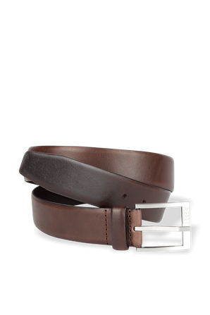 Leather Belt With Logo-Engraved Buckle in Brown BOSS