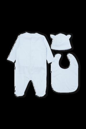 גילאי 1-12 חודשים סט כחול אוברול כובע וסינר KENZO KIDS