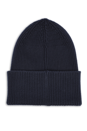 Boss X Russell Athletic Ribbed Beanie Hat in Dark Blue BOSS