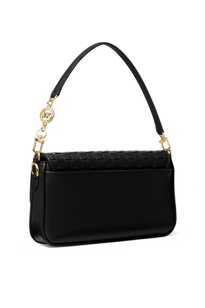 Bradshaw SM Woven Leather Shoulder Bag in Black MICHAEL KORS