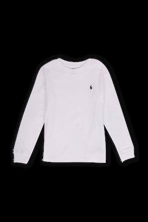 גילאי 8-18 חולצת טי ארוכה בלבן עם רקמת לוגו POLO RALPH LAUREN KIDS