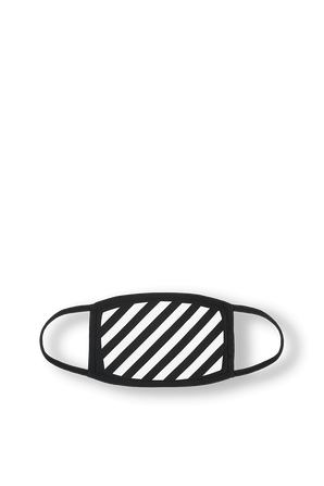 Diagonal Stripes Face Mask in Black and White OFF WHITE