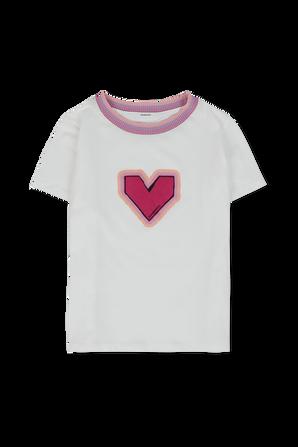 גילאי 1-10 חולצת טי לבנה עם איור של לב צבעוני ZIMMERMANN KIDS