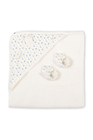 NB-12 חודשים מארז שמיכה ונעלי בית בדפוס פרחוני PETIT BATEAU