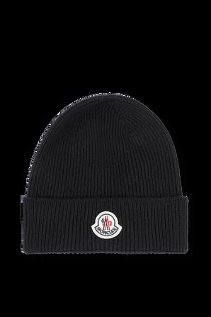 כובע גרב מצמר עם תגית ממותגת בגוון כחול MONCLER